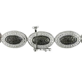 """.15 ct. t.w. Black Diamond Beaded Oval Bracelet in Sterling Silver. 7.25"""", , default"""