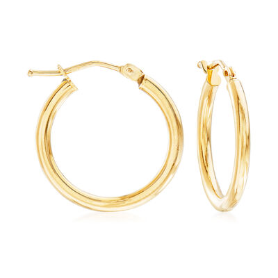 Italian 2mm 18kt Yellow Gold Hoop Earrings, , default