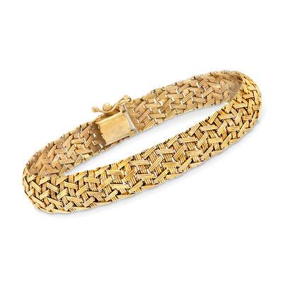 C. 1990 Vintage 14kt Yellow Gold Mesh-Style Bracelet, , default