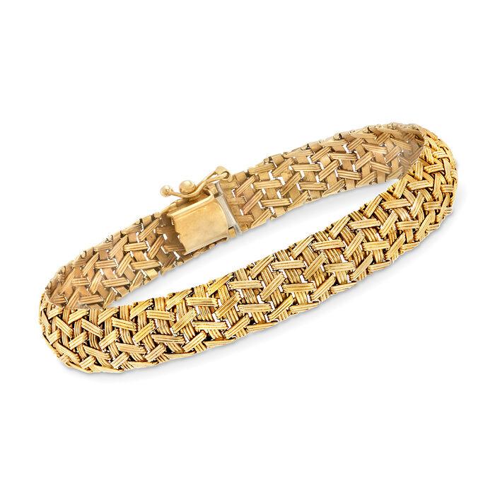 "C. 1990 Vintage 14kt Yellow Gold Mesh-Style Bracelet. 7.5"", , default"