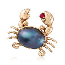 14x10mm Gray Cultured Mabe Pearl Crab Pin With Ruby Accent in 14kt Yellow Gold, , default