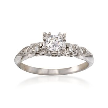 C. 1950 Vintage .33 ct. t.w. Diamond Engagement Ring in 14kt White Gold. Size 6.25, , default