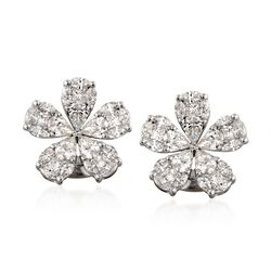 Simon G. 2.32 ct. t.w. Floral Diamond Stud Earrings in 18kt White Gold, , default