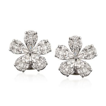 Simon G. 2.32 ct. t.w. Floral Diamond Stud Earrings in 18kt White Gold, , default