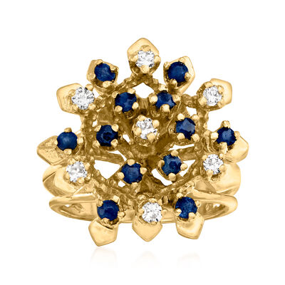 C. 1970 Vintage .50 ct. t.w. Sapphire and .35 ct. t.w. Diamond Cluster Ring in 14kt Yellow Gold