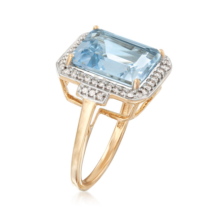 5.00 Carat Aquamarine and .22 ct. t.w. Diamond Ring in 14kt Yellow Gold