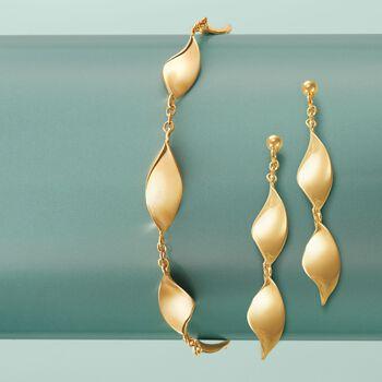 Italian 14kt Yellow Gold Curvy Marquise Drop Earrings, , default