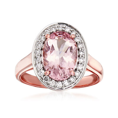 2.40 Carat Morganite and .30 ct. t.w. Diamond Ring in 14kt Rose Gold, , default