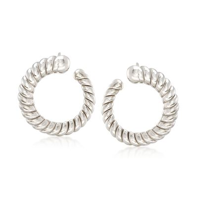 Italian Sterling Silver Ribbed Hoop Earrings, , default