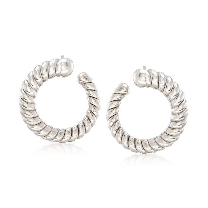 """Italian Sterling Silver Ribbed Hoop Earrings. 3/4"""""""