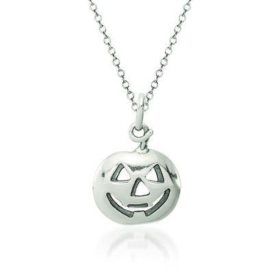 "Sterling Silver Pumpkin Charm Necklace. 18"", , default"