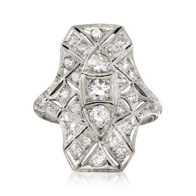 C. 1950 Vintage .90 ct. t.w. Diamond Filigree Ring in Platinum