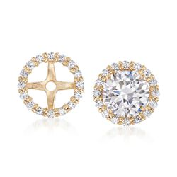 .15 ct. t.w. CZ Earring Jackets in 14kt Yellow Gold , , default