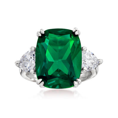 12.70 Carat Simulated Emerald and 1.70 ct. t.w. CZ Ring in Sterling Silver, , default