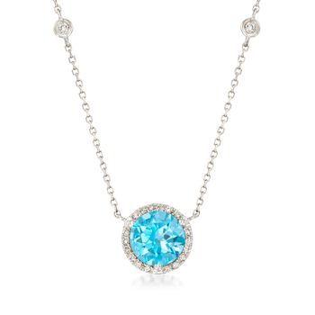"""2.50 Carat Blue Topaz and .19 ct. t.w. Diamond Necklace in 14kt White Gold. 17"""", , default"""