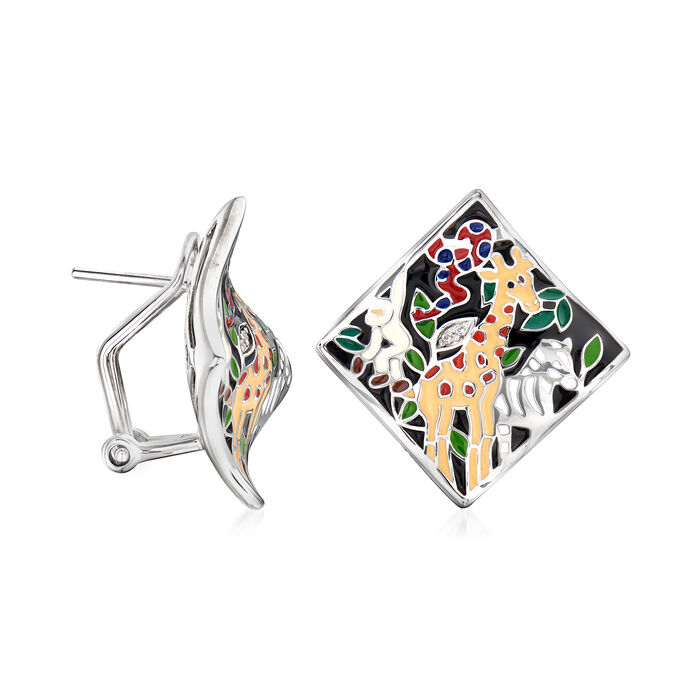 """Belle Etoile """"Serengeti"""" Black and Multicolored Enamel Earrings with CZ Accents in Sterling Silver"""