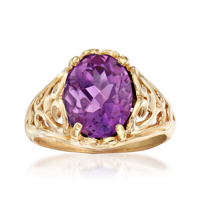 C. 1980 Vintage 2.50 Carat Amethyst Swirl Ring in 14kt Yellow Gold, , default