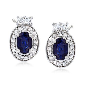 1.20 ct. t.w. Oval Sapphire and .40 ct. t.w. Diamond Halo Earrings in 14kt White Gold , , default
