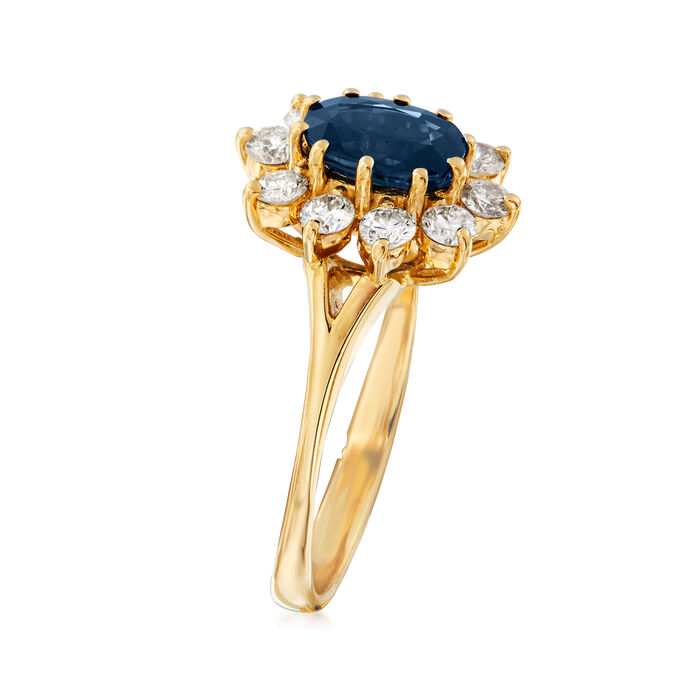 C. 1980 Vintage .90 Carat Sapphire and .50 ct. t.w. Diamond Ring in 14kt Yellow Gold