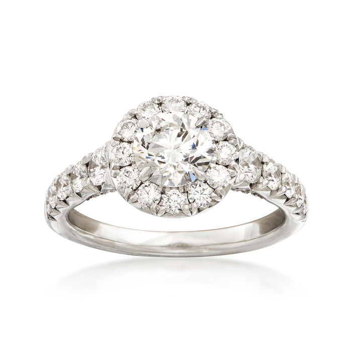 Henri Daussi 1.83 ct. t.w. Certified Diamond Halo Engagement Ring in 18kt White Gold