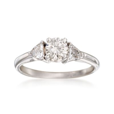 C. 2000 Vintage .94 ct. t.w. Diamond Three-Stone Engagement Ring in 14kt White Gold, , default