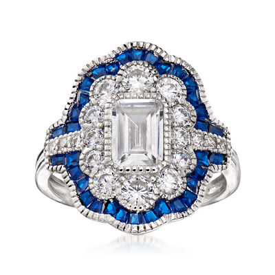 2.03 ct. t.w. CZ and 1.00 ct. t.w. Simulated Sapphire Ring in Sterling Silver