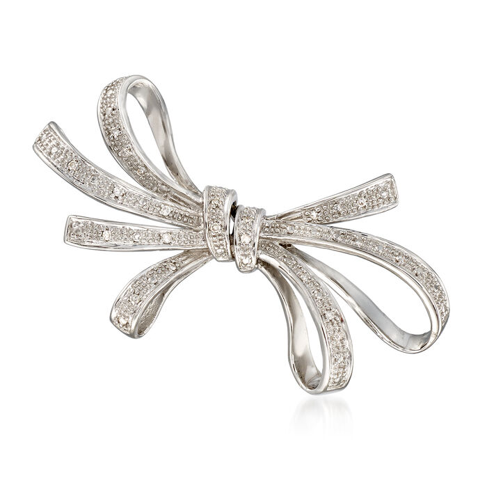 .10 ct. t.w. Diamond Ribbon Pin in Sterling Silver. , , default