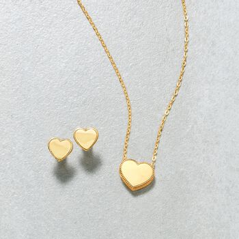 "18kt Yellow Gold Heart Pendant Necklace. 18"", , default"