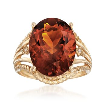 7.25 Carat Oval Citrine With Diamond Accents in 14kt Yellow Gold, , default