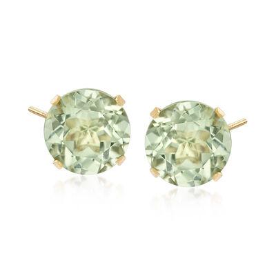 7.70 ct. t.w. Green Prasiolite Stud Earrings in 14kt Yellow Gold, , default