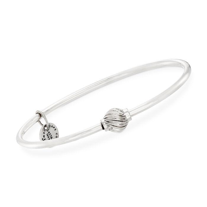 Cape Cod Jewelry Sterling Silver Single Swirled Bead Bangle Bracelet, , default