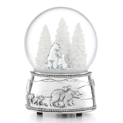 Reed & Barton Polar Bear and Cubs Musical Snow Globe