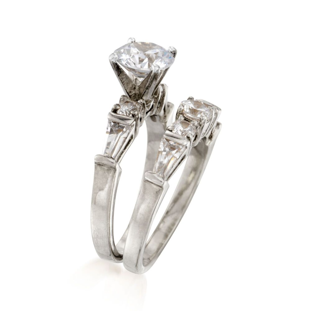 T W Cz Bridal Set Engagement And Wedding Rings In Sterling Silver