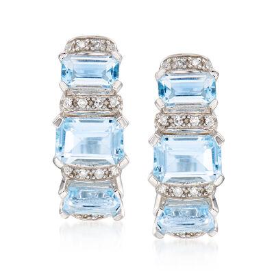 2.40 ct. t.w. Sky Blue Topaz and .10 ct. t.w. Diamond Huggie Hoop Earrings in Sterling Silver