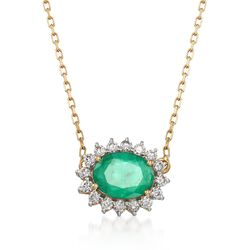 1.00 Carat Emerald and .28 ct. t.w. Diamond Necklace in 18kt Yellow Gold, , default
