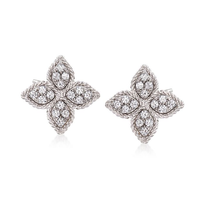 "Roberto Coin ""Princess"" .34 ct. t.w. Diamond Flower Earrings in 18kt White Gold, , default"
