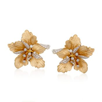 Simon G. .60 ct. t.w. Floral  Diamond Stud Earrings in 18kt Yellow Gold, , default