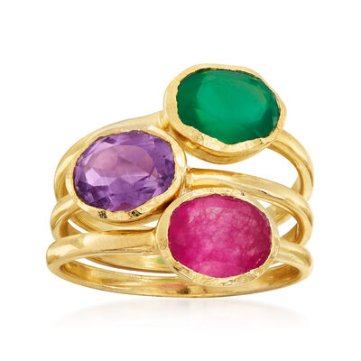 Pink Quartz, Green Chalcedony and Amethyst Jewelry Set: Three Rings in 18kt Gold Over Sterling, , default