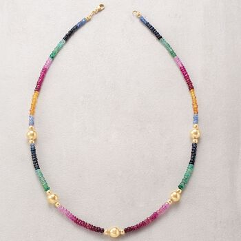 34.50 ct. t.w. Multi-Stone Bead Necklace with 14kt Yellow Gold