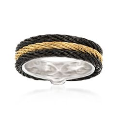 "ALOR ""Noir"" Black and Yellow Stainless Steel Cable Ring, , default"