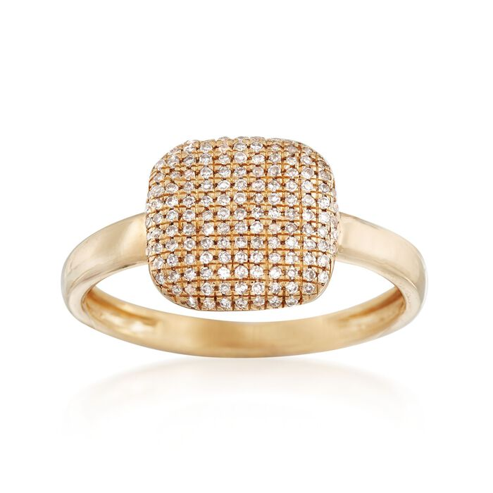 .19 ct. t.w. Pave Diamond Square-Top Ring in 14kt Yellow Gold, , default