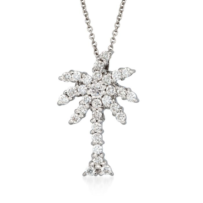 """Roberto Coin """"Tiny Treasures"""" .54 ct. t.w. Diamond Palm Tree Necklace in 18kt White Gold"""
