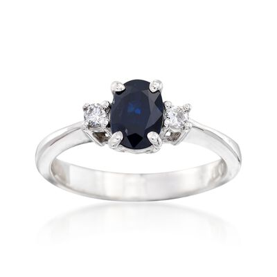 C. 1990 Vintage .95 Carat Sapphire and .10 ct. t.w. Diamond Ring in 14kt White Gold, , default