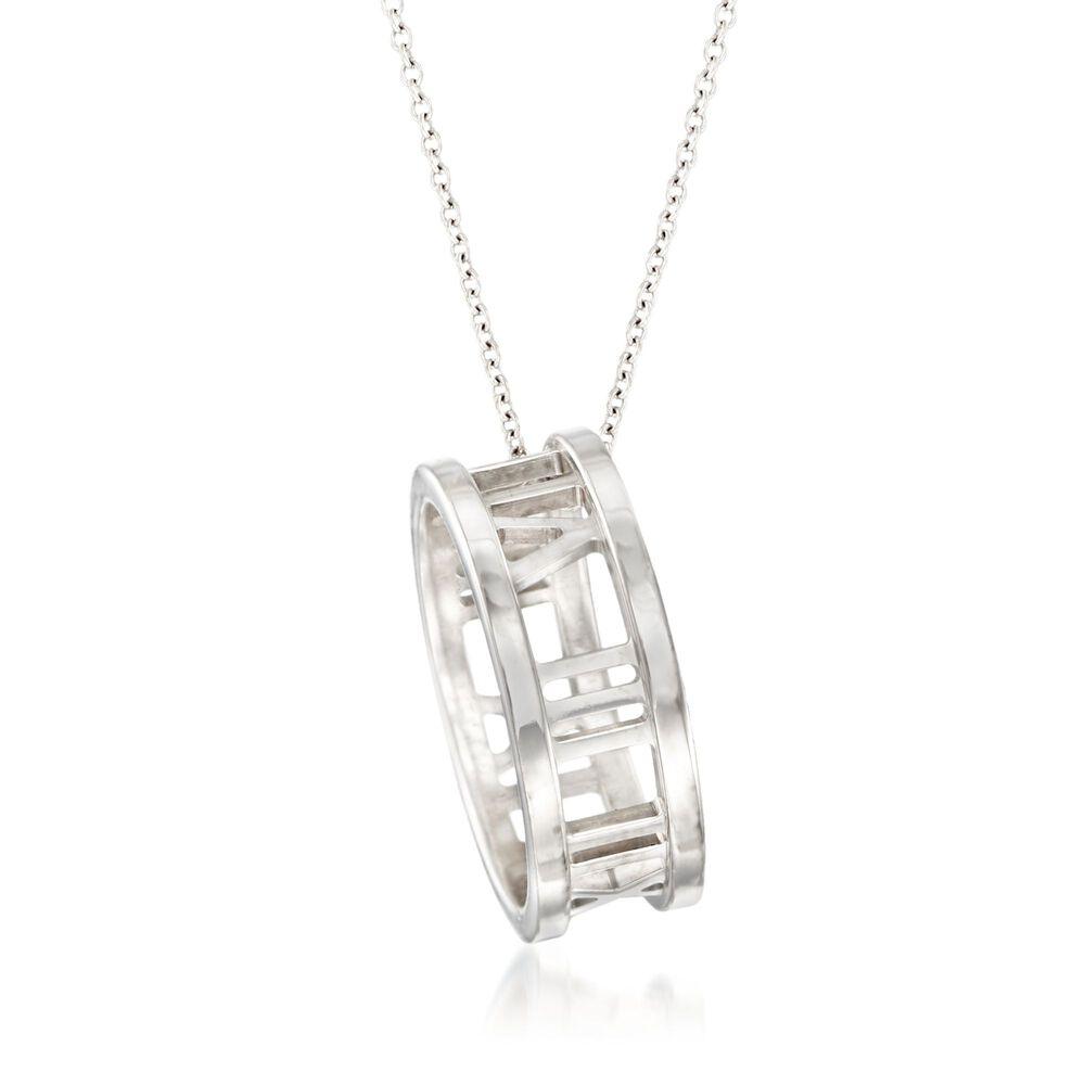 "b09ba9264 C. 2003 Vintage Tiffany Jewelry ""Atlas"" 18kt White Gold Ring  Pendant Necklace"
