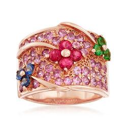 C. 1990 Vintage 2.35 ct. t.w. Multi-Stone Floral Ring in 18kt Rose Gold, , default