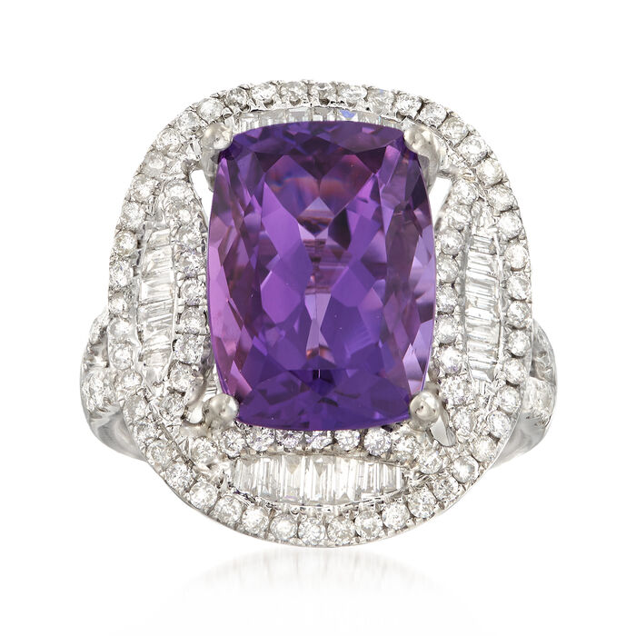 C. 1990 Vintage Cushion-Cut 5.65 Carat Amethyst with 1.17 ct. t.w. Diamond Ring in 18kt White Gold. Size 6.5
