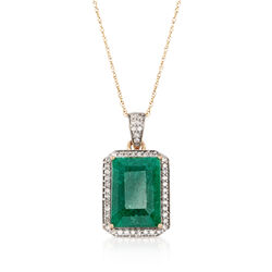 "5.50 Carat Emerald and .25 ct. t.w. Diamond Pendant Necklace in 14kt Yellow Gold. 18"", , default"