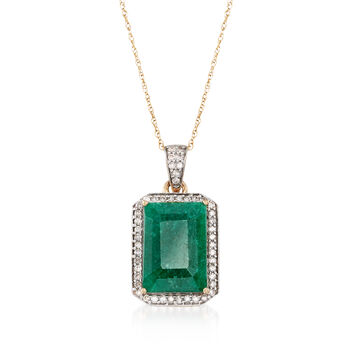 """5.50 Carat Emerald and .25 ct. t.w. Diamond Pendant Necklace in 14kt Yellow Gold. 18"""", , default"""