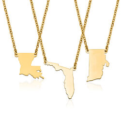 14kt Yellow Gold U.S. State Necklace, , default