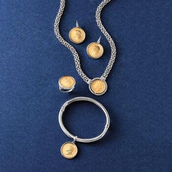 "Italian Genuine Lira Coin Charm Bangle Bracelet in Sterling Silver. 7.5"", , default"